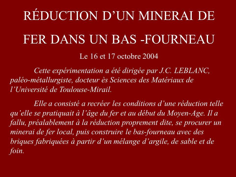 RÉDUCTION D'UN MINERAI DE FER DANS UN BAS -FOURNEAU