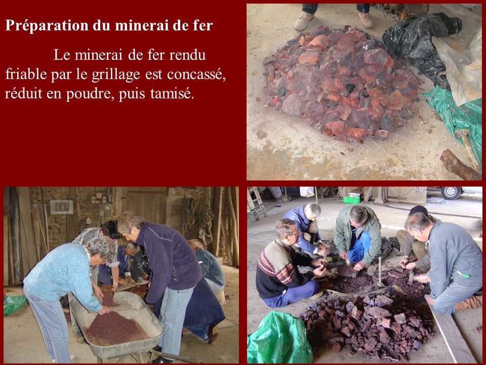 Préparation du minerai de fer