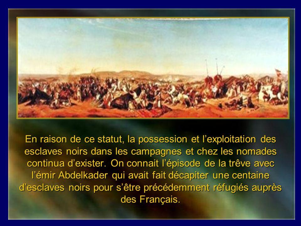En raison de ce statut, la possession et l'exploitation des esclaves noirs dans les campagnes et chez les nomades continua d'exister.