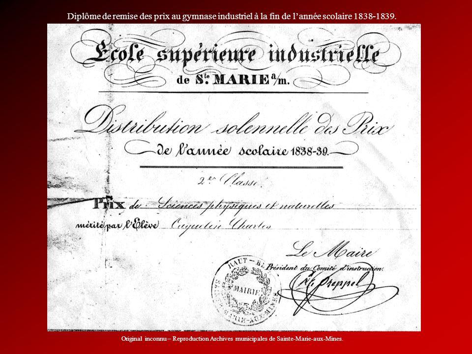 Diplôme de remise des prix au gymnase industriel à la fin de l'année scolaire 1838-1839.