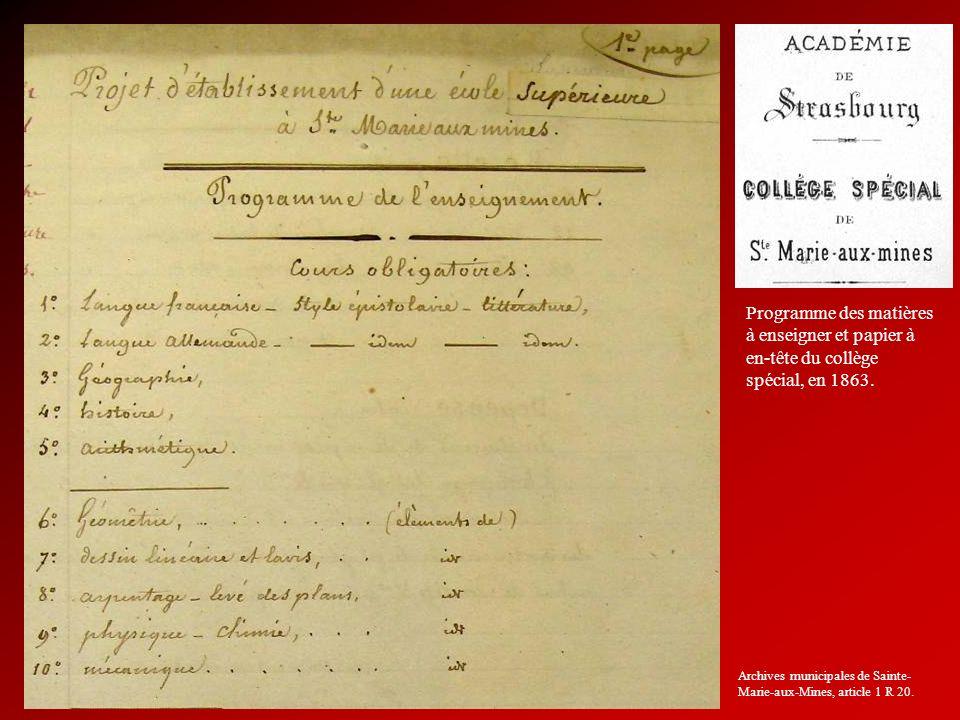 Programme des matières à enseigner et papier à en-tête du collège spécial, en 1863.