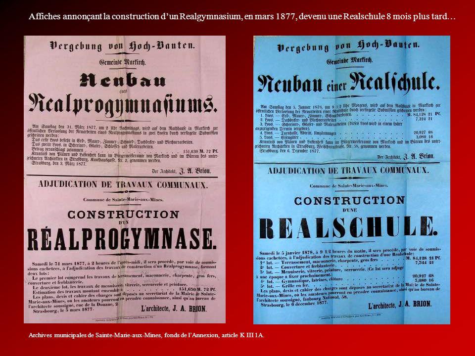 Affiches annonçant la construction d'un Realgymnasium, en mars 1877, devenu une Realschule 8 mois plus tard…