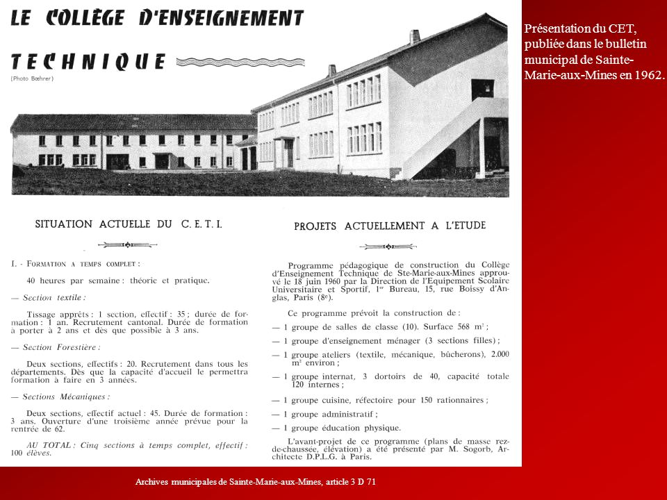 Archives municipales de Sainte-Marie-aux-Mines, article 3 D 71