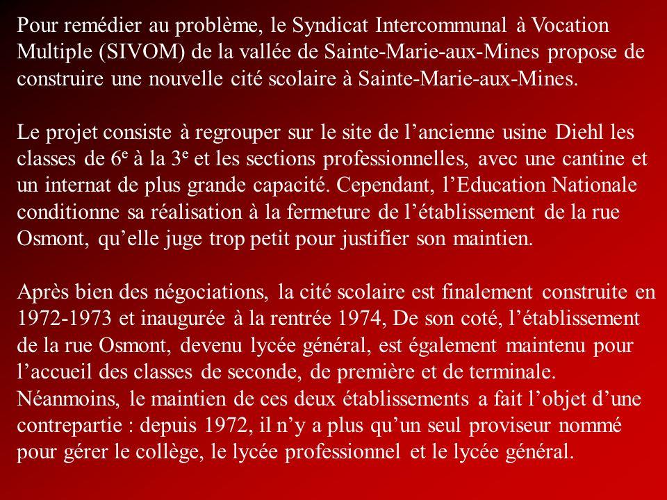 Pour remédier au problème, le Syndicat Intercommunal à Vocation Multiple (SIVOM) de la vallée de Sainte-Marie-aux-Mines propose de construire une nouvelle cité scolaire à Sainte-Marie-aux-Mines.