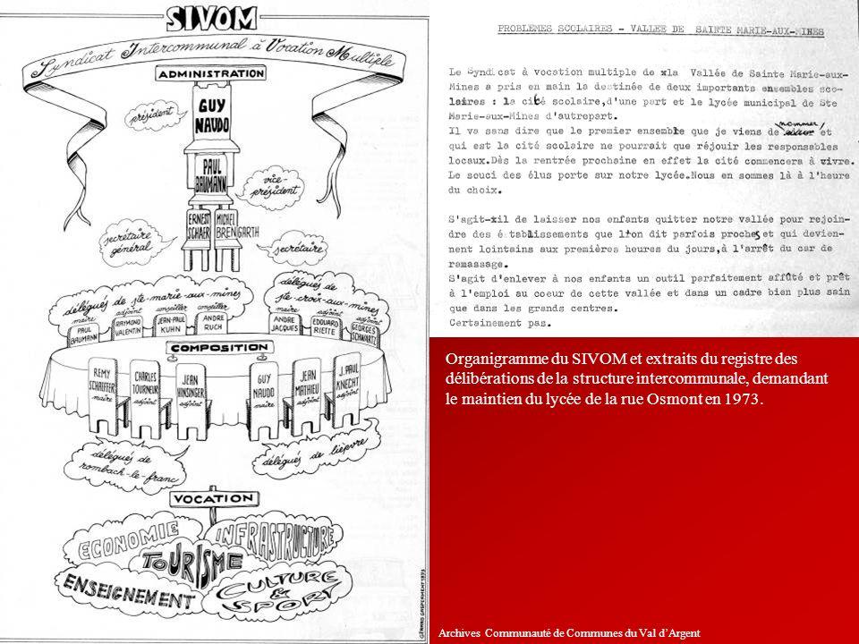 Organigramme du SIVOM et extraits du registre des délibérations de la structure intercommunale, demandant le maintien du lycée de la rue Osmont en 1973.