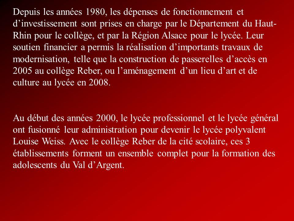 Depuis les années 1980, les dépenses de fonctionnement et d'investissement sont prises en charge par le Département du Haut-Rhin pour le collège, et par la Région Alsace pour le lycée. Leur soutien financier a permis la réalisation d'importants travaux de modernisation, telle que la construction de passerelles d'accès en 2005 au collège Reber, ou l'aménagement d'un lieu d'art et de culture au lycée en 2008.