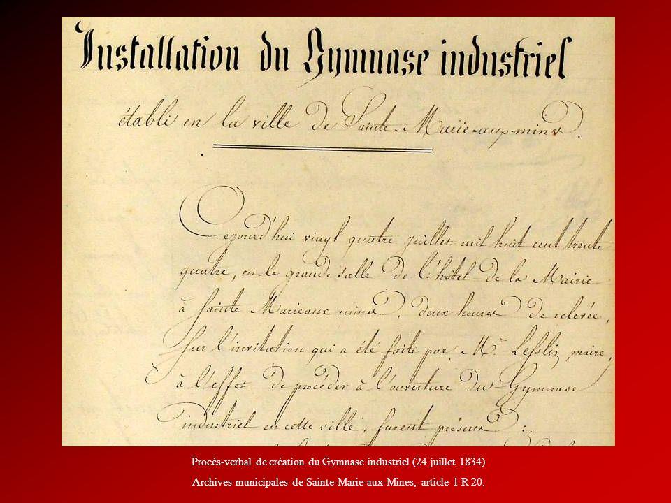 Procès-verbal de création du Gymnase industriel (24 juillet 1834)