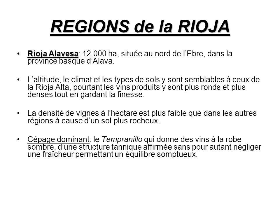REGIONS de la RIOJA Rioja Alavesa: 12.000 ha, située au nord de l'Ebre, dans la province basque d'Alava.
