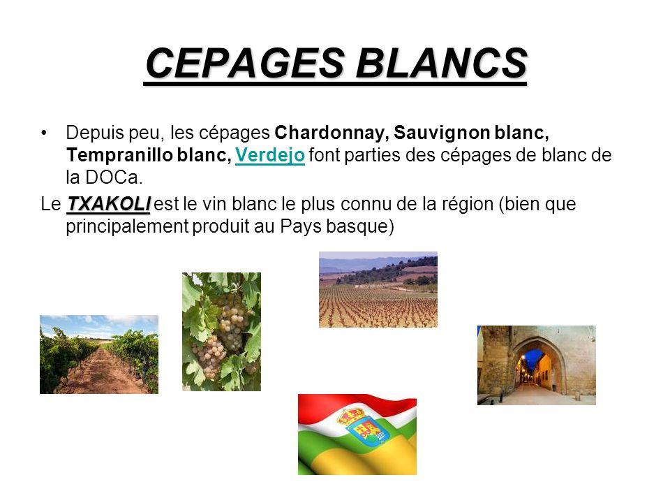 CEPAGES BLANCS Depuis peu, les cépages Chardonnay, Sauvignon blanc, Tempranillo blanc, Verdejo font parties des cépages de blanc de la DOCa.