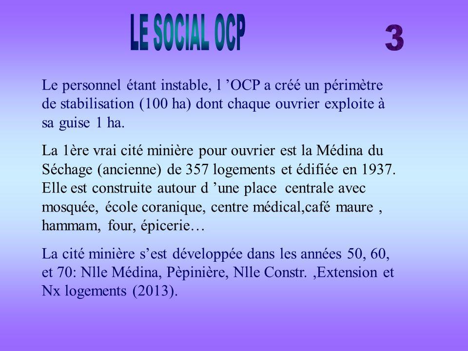 LE SOCIAL OCP 3. Le personnel étant instable, l 'OCP a créé un périmètre de stabilisation (100 ha) dont chaque ouvrier exploite à sa guise 1 ha.