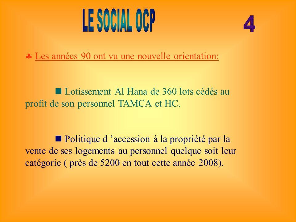 LE SOCIAL OCP 4 Les années 90 ont vu une nouvelle orientation: