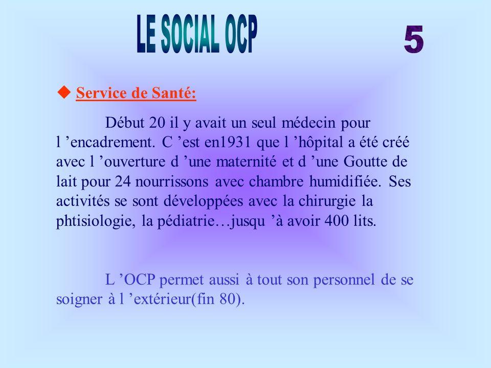 LE SOCIAL OCP 5  Service de Santé: