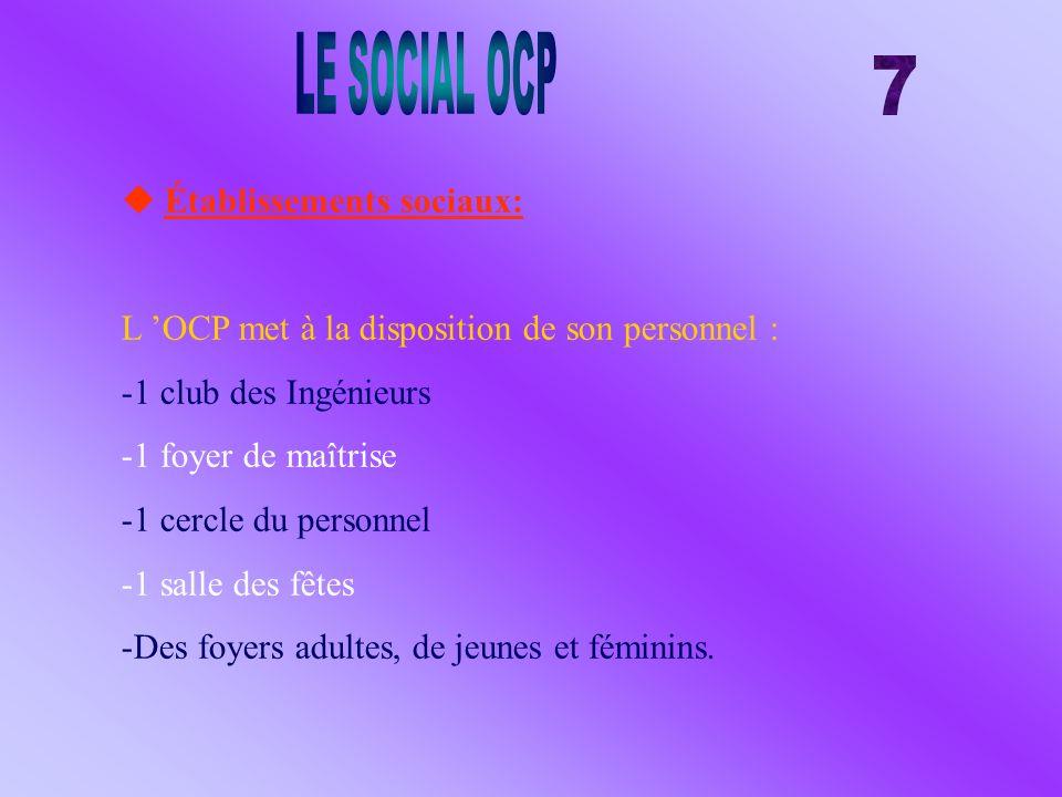 LE SOCIAL OCP 7  Établissements sociaux: