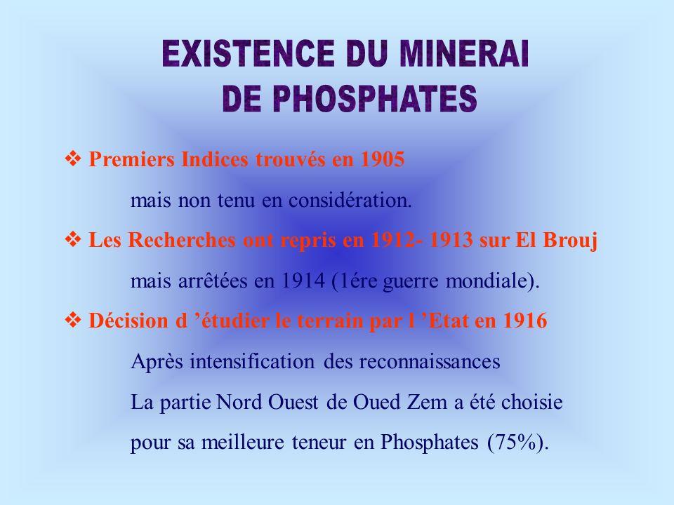 EXISTENCE DU MINERAI DE PHOSPHATES  Premiers Indices trouvés en 1905