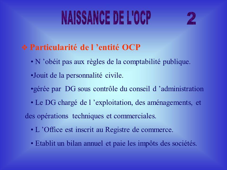 NAISSANCE DE L OCP 2  Particularité de l 'entité OCP