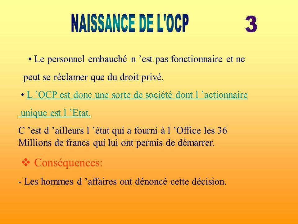 NAISSANCE DE L OCP 3. • Le personnel embauché n 'est pas fonctionnaire et ne. peut se réclamer que du droit privé.