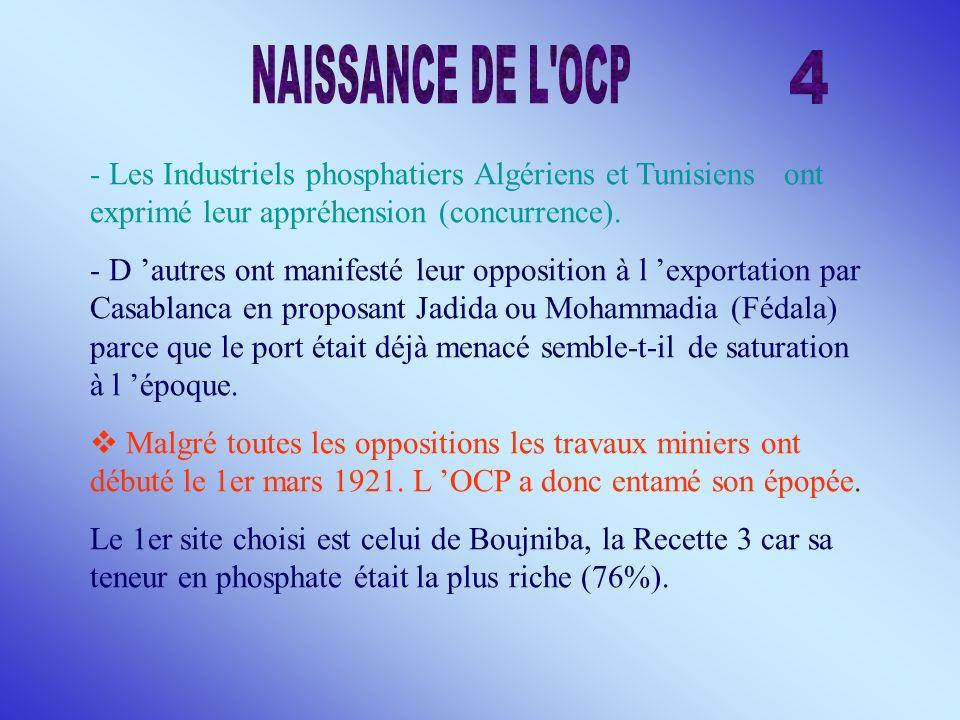 NAISSANCE DE L OCP 4. - Les Industriels phosphatiers Algériens et Tunisiens ont exprimé leur appréhension (concurrence).