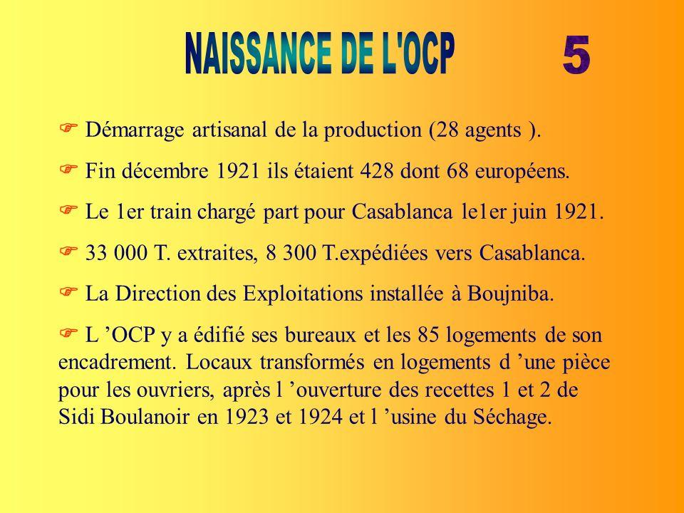 NAISSANCE DE L OCP 5.  Démarrage artisanal de la production (28 agents ).  Fin décembre 1921 ils étaient 428 dont 68 européens.