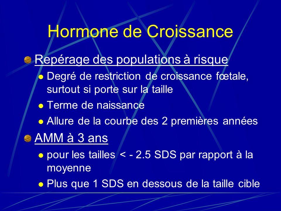 Hormone de Croissance Repérage des populations à risque AMM à 3 ans