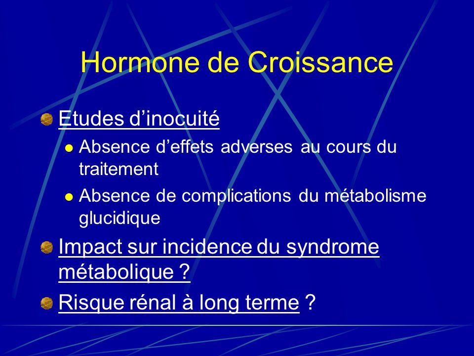 Hormone de Croissance Etudes d'inocuité