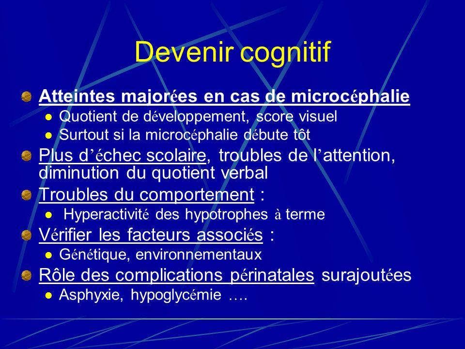 Devenir cognitif Atteintes majorées en cas de microcéphalie