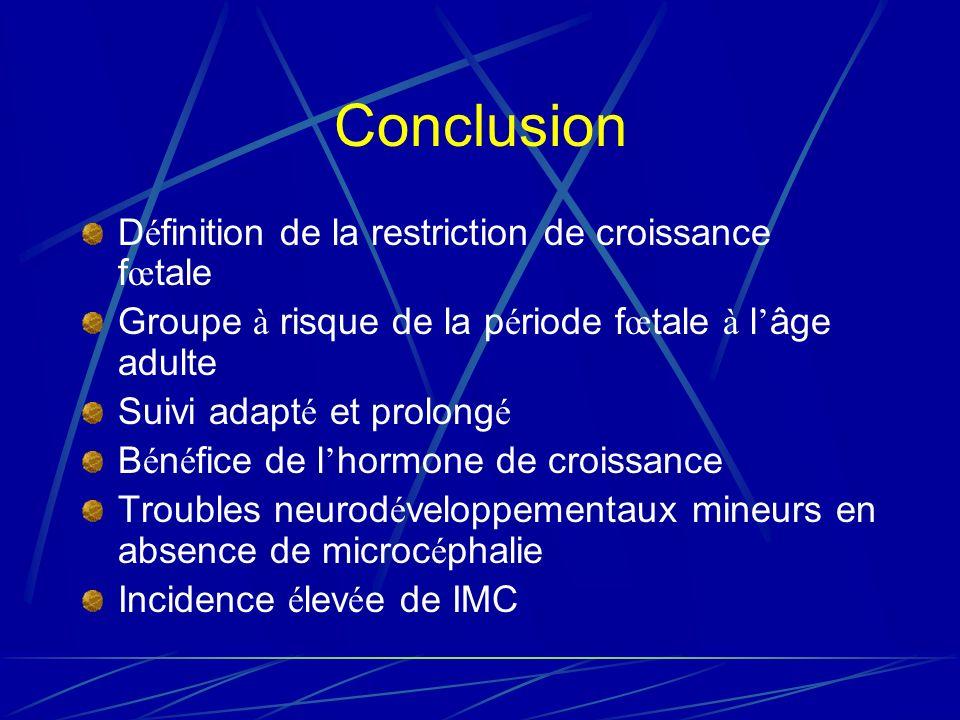 Conclusion Définition de la restriction de croissance fœtale
