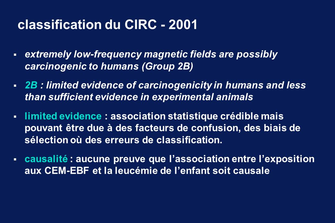 classification du CIRC - 2001