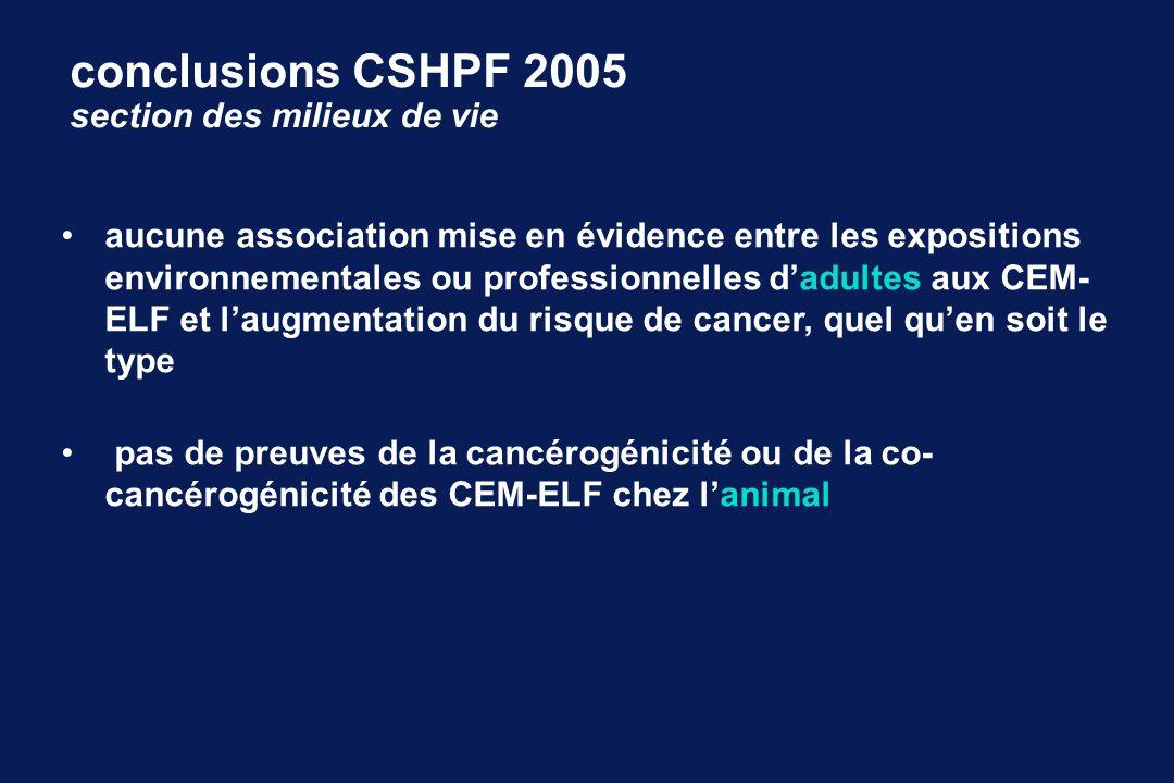 conclusions CSHPF 2005 section des milieux de vie