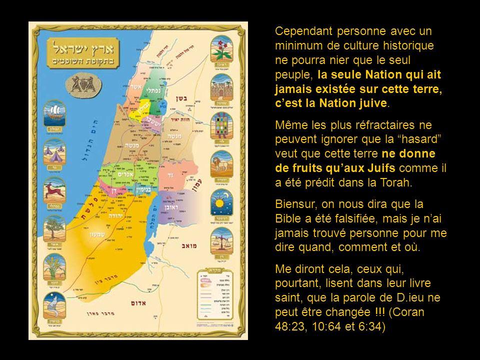 Cependant personne avec un minimum de culture historique ne pourra nier que le seul peuple, la seule Nation qui ait jamais existée sur cette terre, c'est la Nation juive.