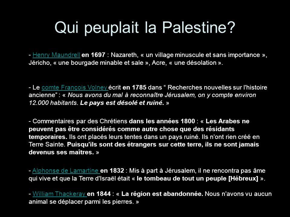 Qui peuplait la Palestine
