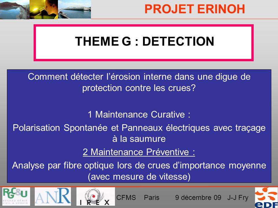 THEME G : DETECTION Comment détecter l'érosion interne dans une digue de protection contre les crues