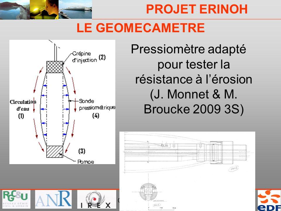 LE GEOMECAMETRE Pressiomètre adapté pour tester la résistance à l'érosion (J.