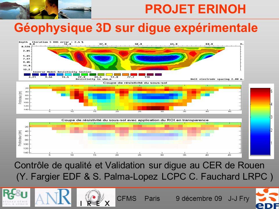Géophysique 3D sur digue expérimentale