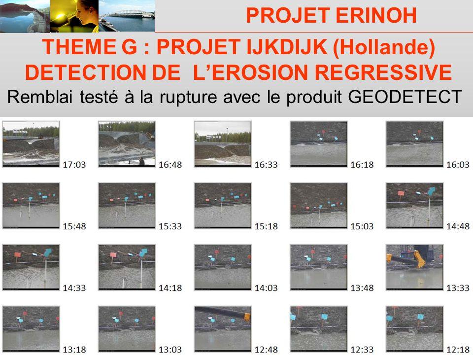 THEME G : PROJET IJKDIJK (Hollande) DETECTION DE L'EROSION REGRESSIVE