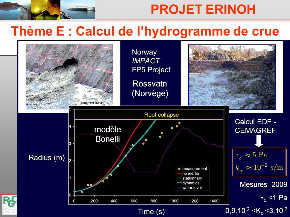 Thème E : Calcul de l'hydrogramme de crue