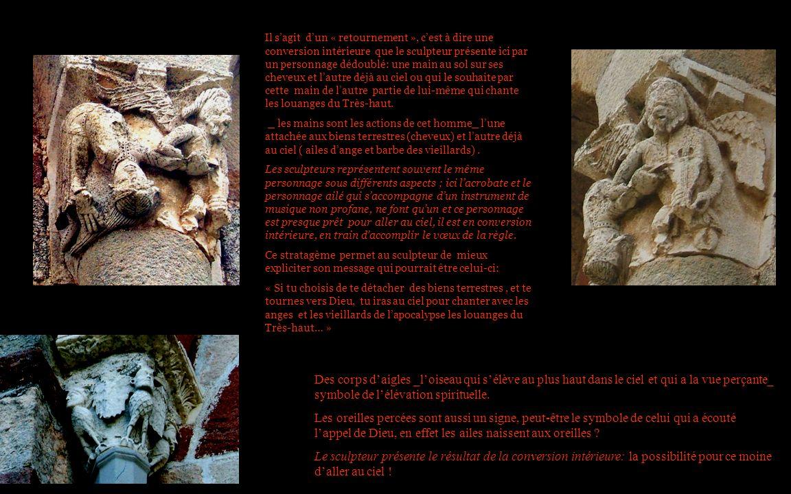 Il s'agit d'un « retournement », c'est à dire une conversion intérieure que le sculpteur présente ici par un personnage dédoublé: une main au sol sur ses cheveux et l'autre déjà au ciel ou qui le souhaite par cette main de l'autre partie de lui-même qui chante les louanges du Très-haut.