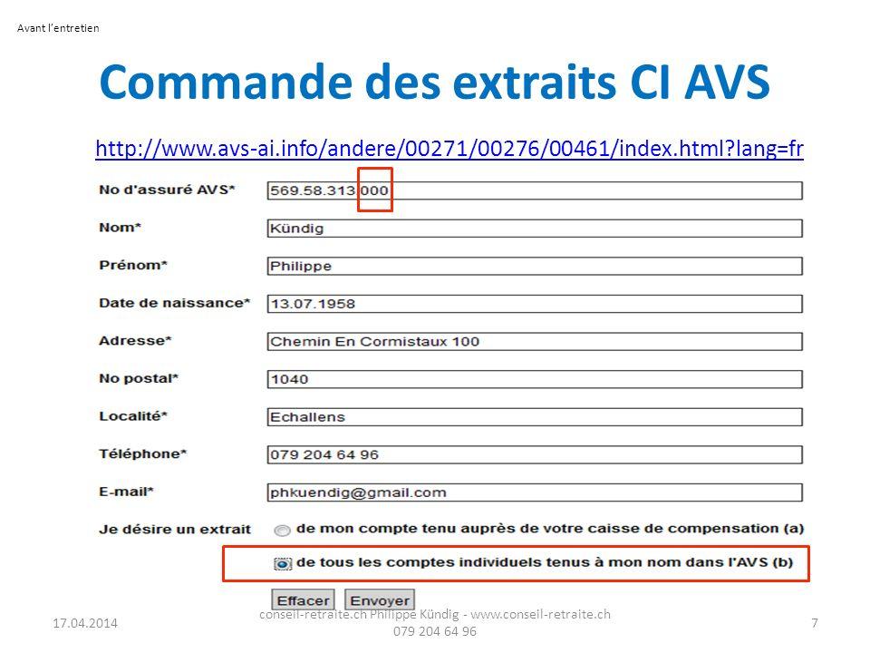 Commande des extraits CI AVS