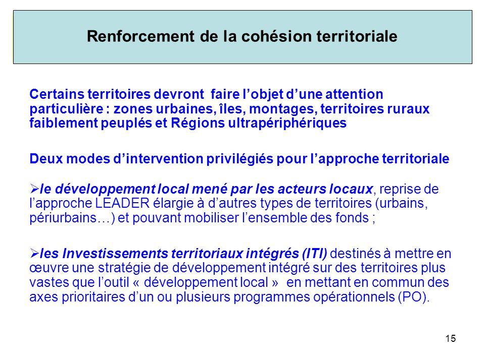 Renforcement de la cohésion territoriale