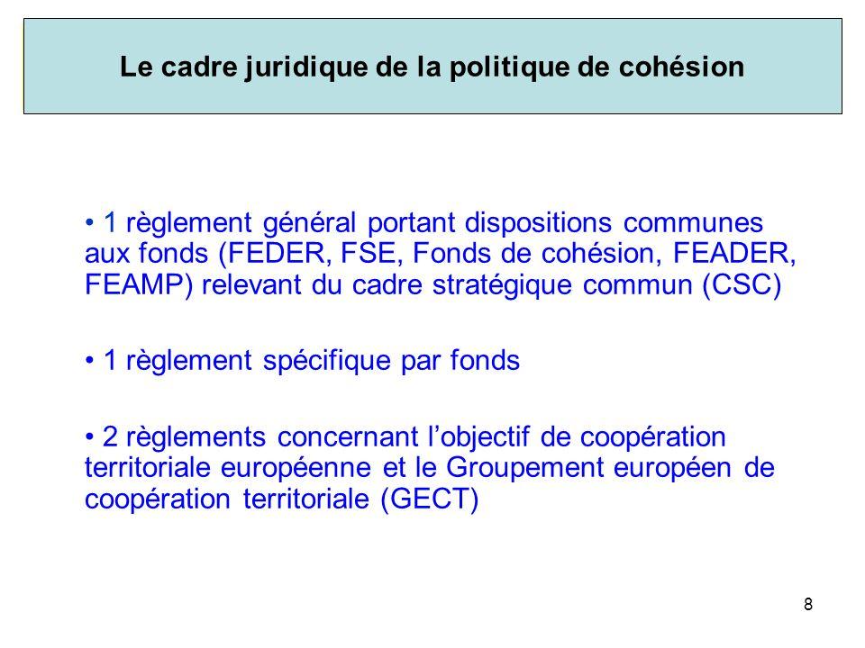 Le cadre juridique de la politique de cohésion