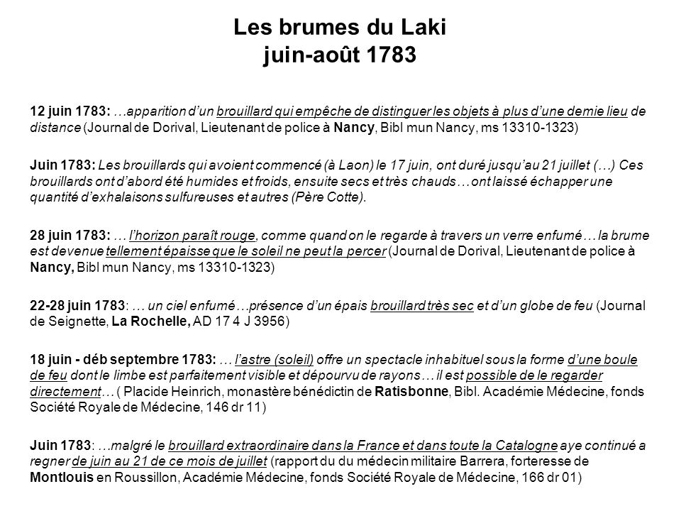 Les brumes du Laki juin-août 1783