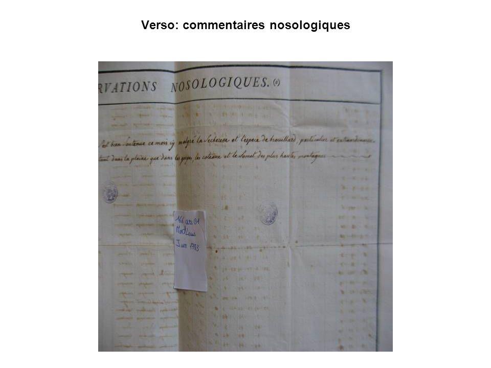 Verso: commentaires nosologiques