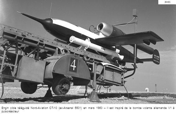 (SHD) Engin cible téléguidé Nord-Aviation CT-10 (ex-Arsenal 5501) en mars 1960 – Il est inspiré de la bombe volante allemande V1 à pulsoréacteur.