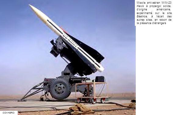 Missile anti-aérien MIM-23 Hawk à propergol solide, d'origine américaine, expérimenté sur le site Béatrice, à l'écart des autres sites, en raison de la présence d'étrangers