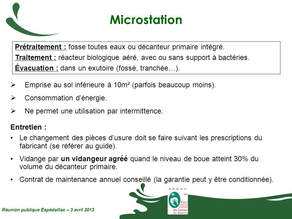 Microstation Prétraitement : fosse toutes eaux ou décanteur primaire intégré.