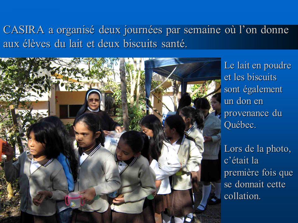 CASIRA a organisé deux journées par semaine où l'on donne aux élèves du lait et deux biscuits santé.