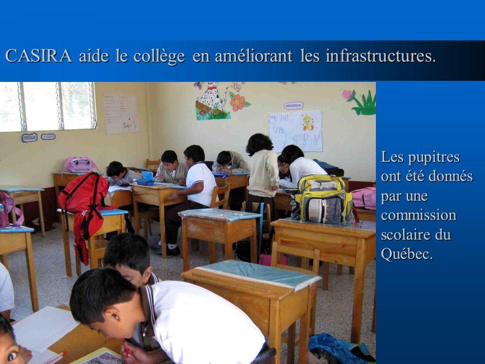 CASIRA aide le collège en améliorant les infrastructures.