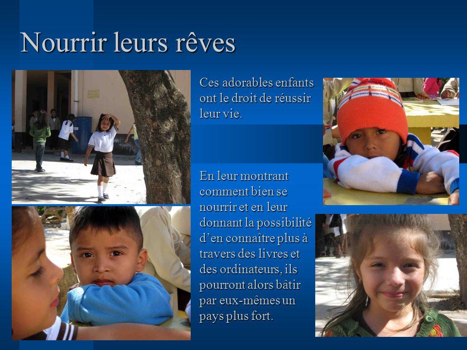Nourrir leurs rêves Ces adorables enfants ont le droit de réussir leur vie.