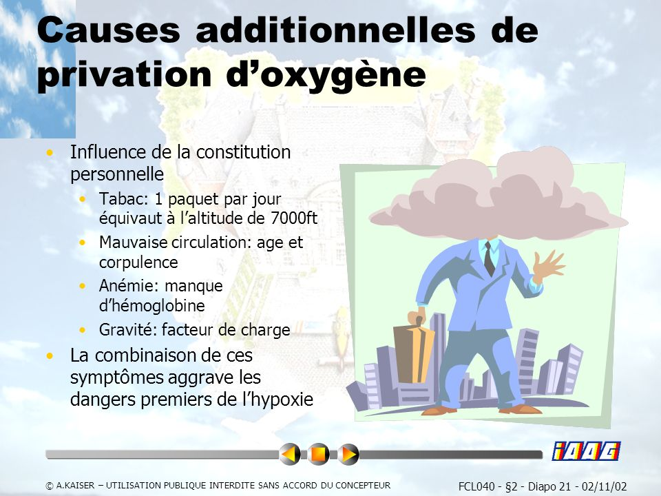 Causes additionnelles de privation d'oxygène
