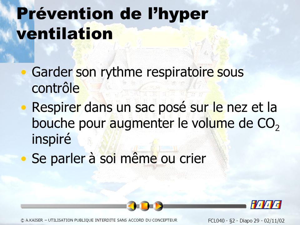 Prévention de l'hyper ventilation