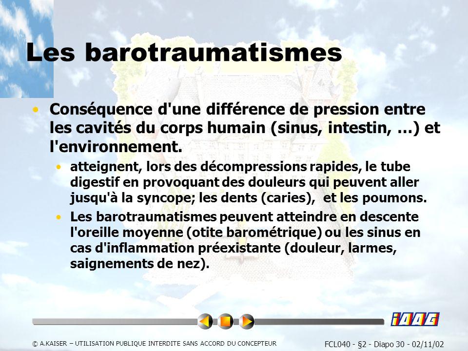 Les barotraumatismes Conséquence d une différence de pression entre les cavités du corps humain (sinus, intestin, …) et l environnement.